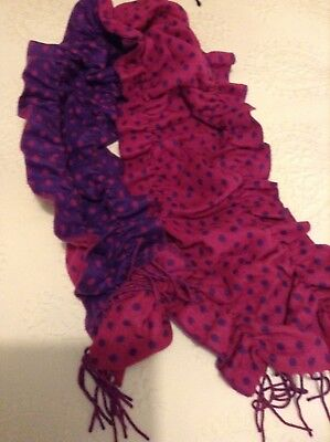 ultra  soft pink and purple spotted ruched scarf with fringes NWOT segunda mano  Embacar hacia Spain