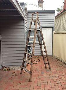 Vintage Wooden Painter's Ladder Soldiers Hill Ballarat City Preview