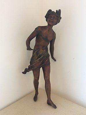"""12.75"""" Original Antique ART NOUVEAU Spelter FIGURINE Maiden Girl, Lady, Nude"""