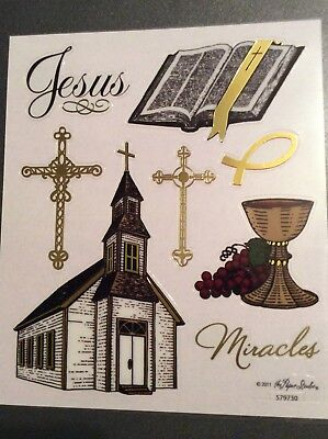 Religious themed Church Cross Miracle Scrapbook Stickers Gold Foil