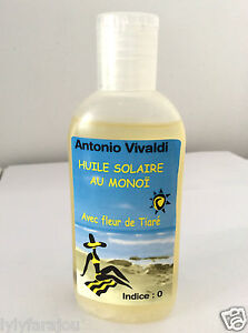 antonio vivaldi huile solaire au monoi avec fleur de tiare 100ml anti desseche ebay. Black Bedroom Furniture Sets. Home Design Ideas
