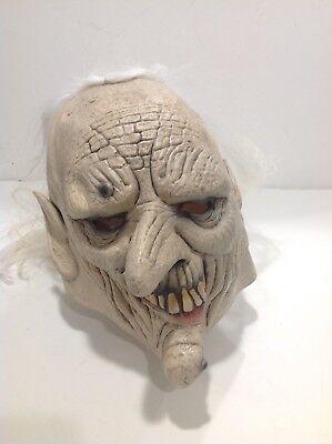 Vintage Halloween Adult Mask Latex Rubber Old Man w/ Warts White Hair - Old Vintage Halloween Masks