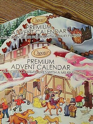 Lot of 2 Choceur Advent Calendar Christmas 24 Premium Chocolate Figures 8.46oz