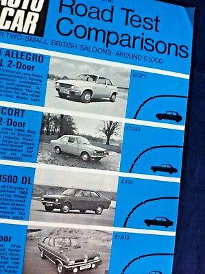 AUTOCAR ROAD TEST COMPARISONS 1972/73 - ALLEGRO,ESCORT,AVENGER,VIVA