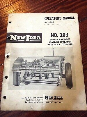 New Idea Operators Manual For No. 203 Power Take-off Manure Spreader S-206