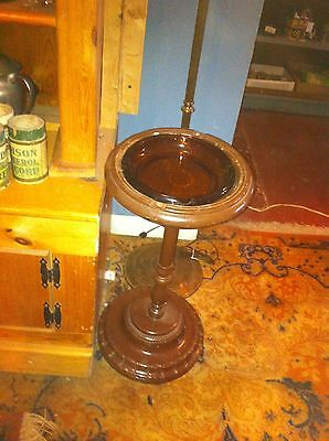 Vintage Retro Pedestal Smoking Stand w/ Amber Ashtray Cigarette Cigar