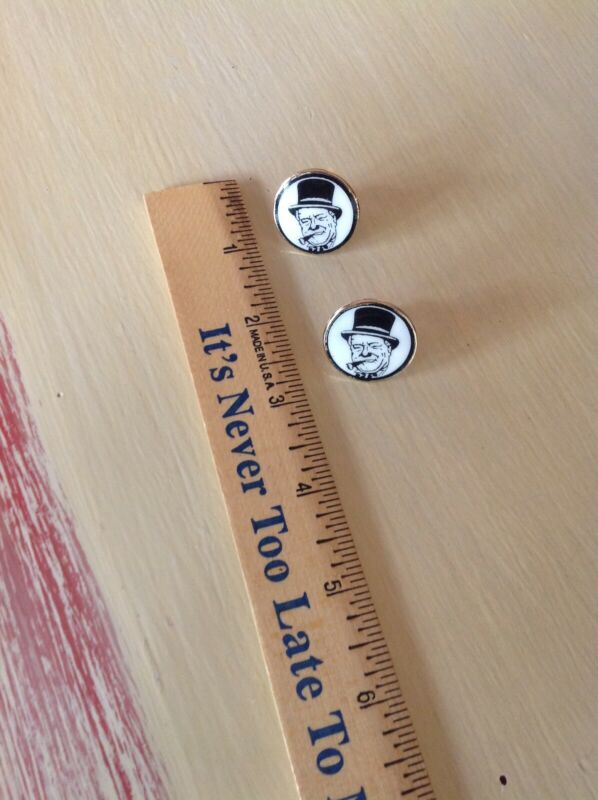 Vintage Off the Cuff Productions W.C. Fields Gold Tone Enamel Round Cuff Links