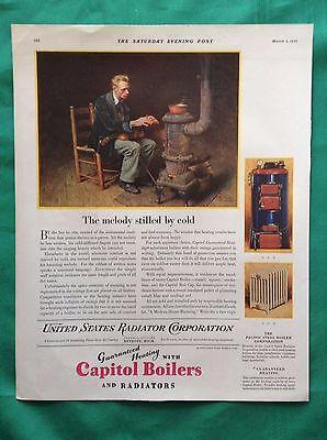 1919 Vintage Magazine US Radiator Corp Ad ~ Norman Rockwell Painting ~ Violinist