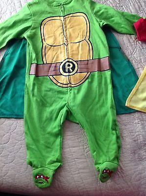 Nickelodeon ninja turtle baby infant footed costume sleeper 1  piece size 6 mos ](Infant Ninja Turtle Costume)