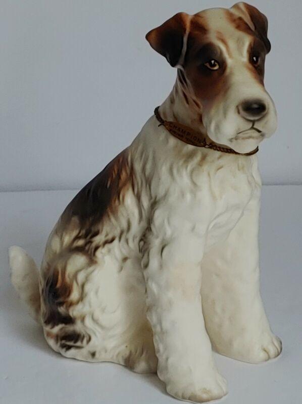 Vintage Handpainted Wirehair Fox Terrier Dog Figurine By Erich Stauffer