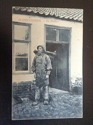 lot de 2 anciennes Cartes postales type de vieux pecheur Littoral belge