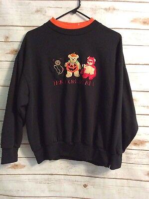 "Halloween Womans Sweatshirt No Tags See Measurements Black ""Trick or Treat"" Bear"