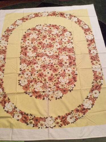 """Vintage Tablecloth Yellow White Tan Brown Floral 64"""" x 50"""" Bright Colors"""
