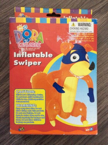 "2003, DORA THE EXPLORER, INFLATABLE SWIPER DOLL (11.5"" X 20"") SUPER RARE! NEW"