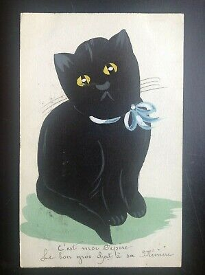 Jolie ancienne Carte postale fantaisie chat aquarelle