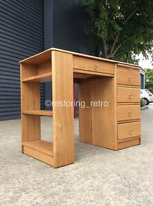 Mid Century Retro SOLID ASH Desk Table W Shelves Drawers Bayswater North Maroondah Area Preview