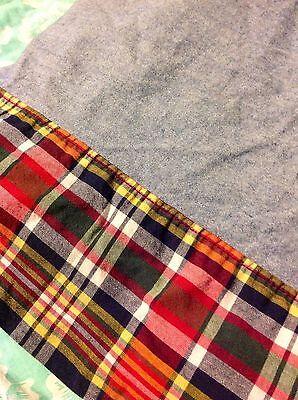 Ralph Lauren DENIM with PLAID trim TWIN size FLAT Sheet Bedding *RARE* Ralph Lauren Denim Bedding