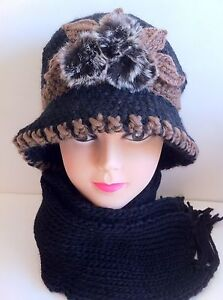 Handmade WINTER WARM Knit Knitted Scarf and Hat Set 2pcs