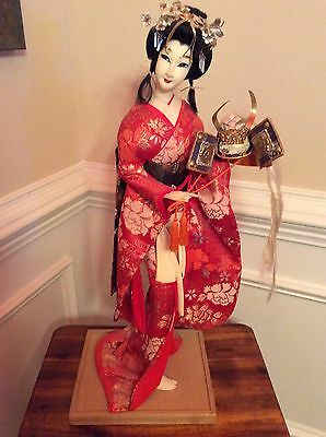 Vintage Japanese Geisha Doll  Kimono Gofun GIRL Holding Samurai Helmet Kabuto