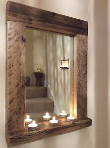 wooden / wood mirror with shelf, handmade, reclaimed wood, pine, rustic, bespoke