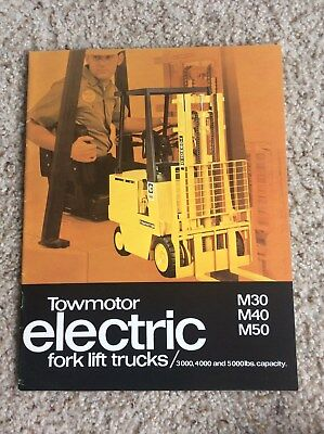 1970s Towmotor Electric Fork Lift Trucks Original Factory Printed Sales Catal