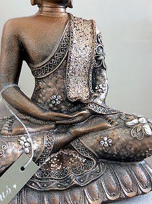 Unique Meditation Buddhas Statue. Adorned In CLEAR QUARTZ Swarovski Elements