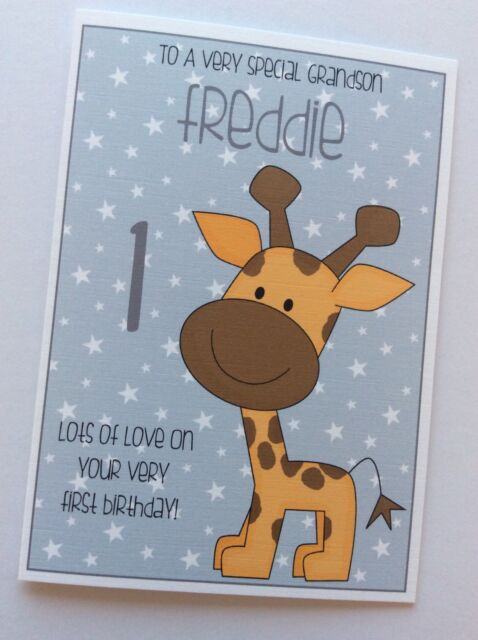 Handmade Personalised Babys First 1st Birthday Card Cute Giraffe