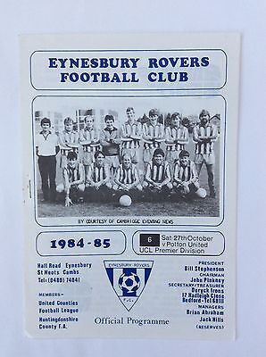 Eynesbury rovers  v Potton united, united counties league October 1984