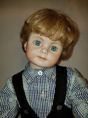 """LARGE 25"""" VINTAGE ALL PORCELAIN BISQUE BOY DOLL AND HAND MADE CLOTHES"""