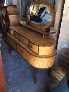 DECO DRESSER/ MIRROR PLUS CHINA CABINET. RARE Glenelg Holdfast Bay Preview