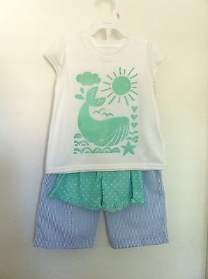 Carter's Three Piece Pajama Shirt/Shorts/Pants White Green Blue Size 2T NWT
