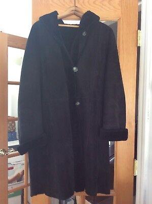 3 4 Length Coats (Black shearling 3/4 length coat with Hood size M/L)