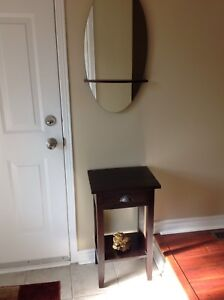 Small dark wood hall entry table and mirror