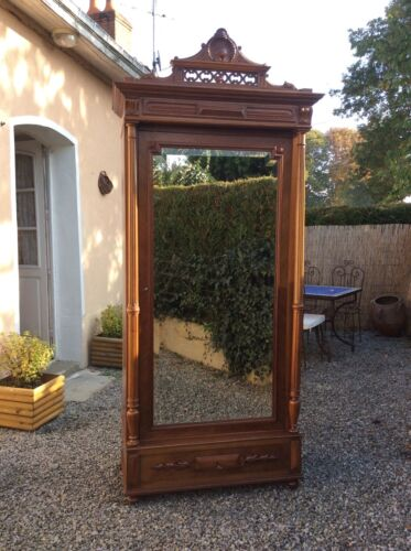 Antique French Empire Style Carved Walnut Armoire With Single Mirrored Door