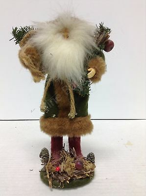 Rustic Santa Claus figurine Green coat red boots Christmas country primitive
