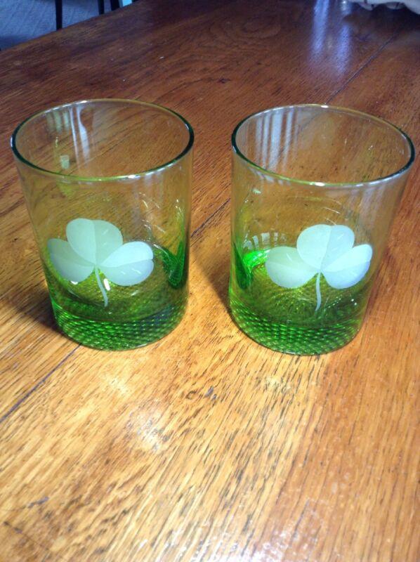 Set of 2 Green w/etched Shamrock Whiskey Glasses Irish St. Patricks