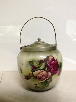England L & Sons Hanley Barrel Biscuit Jar EPNS Hand Painted Signed