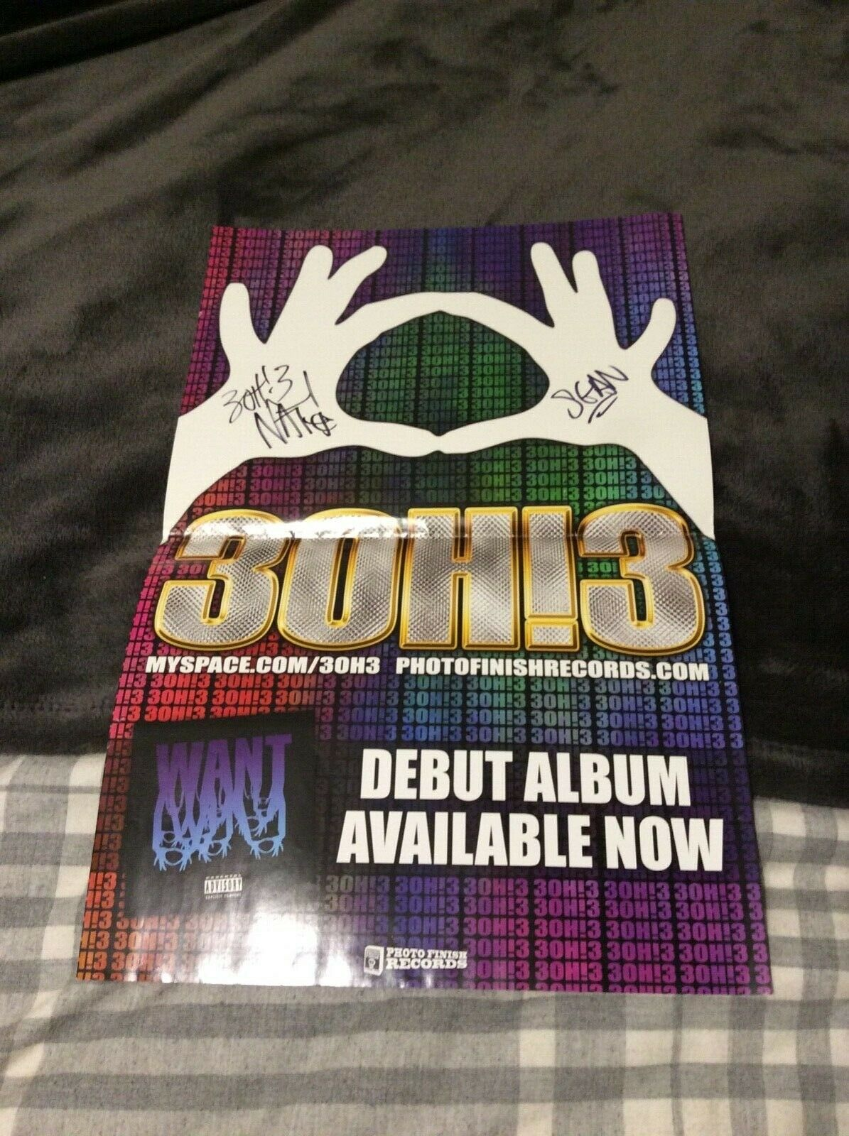 BAND 3OH!3 SIGNED WARPED TOUR DOUBLE SIDED POSTER 11x17 BY SEAN & NATHANIEL RARE