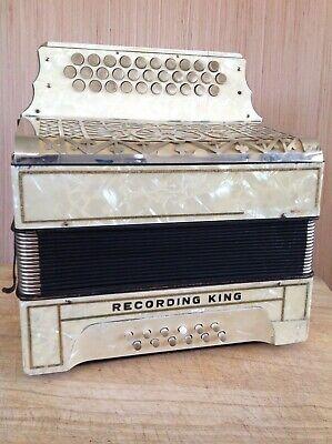 Vintage Art Deco era Hohner 'Recording King' 3 row diatonic button accordion ADG