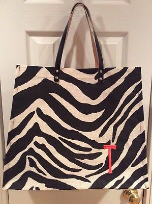 Zebra burlap jute tote/shopper bag, leather handles,