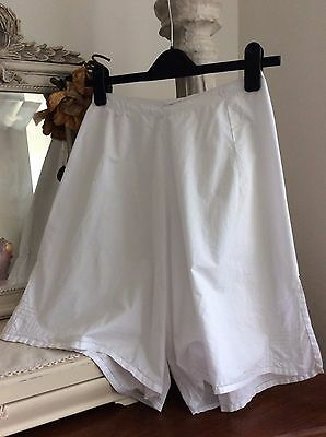 Antique French Bloomers ~ White Cotton/Cut-work ~Victorian New Old Stock /Unworn
