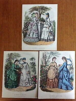 La Mode Illustree~Lot of 3 French Victorian fashion plates~9x12 in~1950s reprint