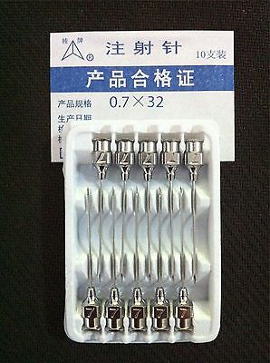 10pcs Stainless Steel Syringe Needle 0.7x32mm 22g Dispensing Needle