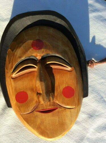 Japanese wooden hand carved mask