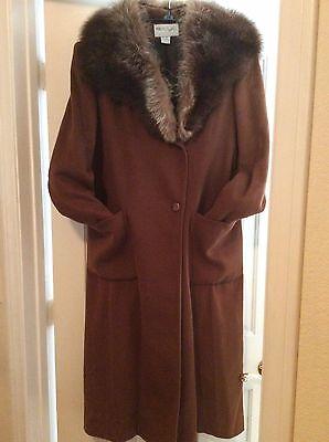 Paul et Duffier 78%wooL/ nylon full length tan/ real raccoon fur Collar coat/sz4