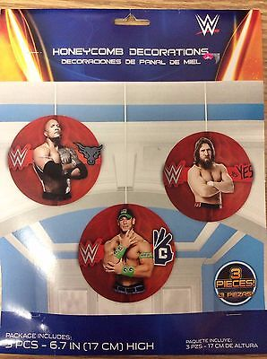 WWE 2014 Party Supplies Honeycomb Decorations hanging 3ct - Wwe Party Decorations