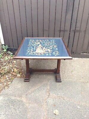 Antique tapestry work firescreen /metamorphic table