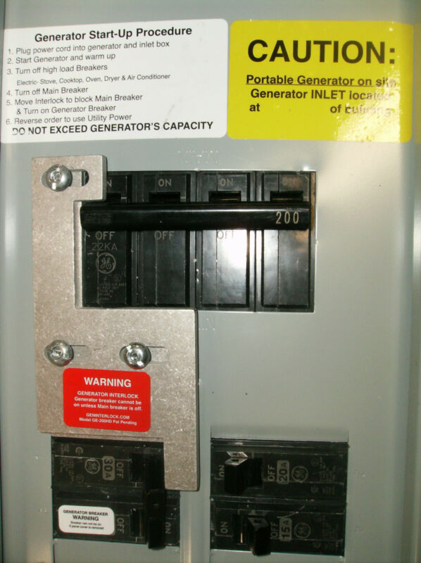 GE-200HDA General Electric Generator interlock kit 150 200 Amp Panels LISTED