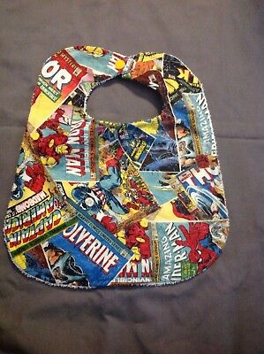Retro Marvel Avengers Iron Man Thor Hulk Extra Large Baby Toddler Drool Bib Wash - Iron Man Baby