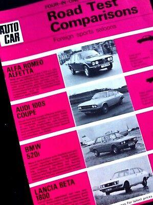AUTOCAR ROAD TEST COMPARISONS 1973/74 -ALFETTA, AUDI COUPE, BMW520i,LANCIA BETA